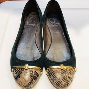 Tory Burch Pacey Suede Snake Cap Toe Flats 7.5